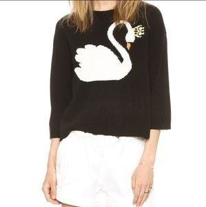 Red Valentino Swan Sweater Intarsia Knit Boxy Crop